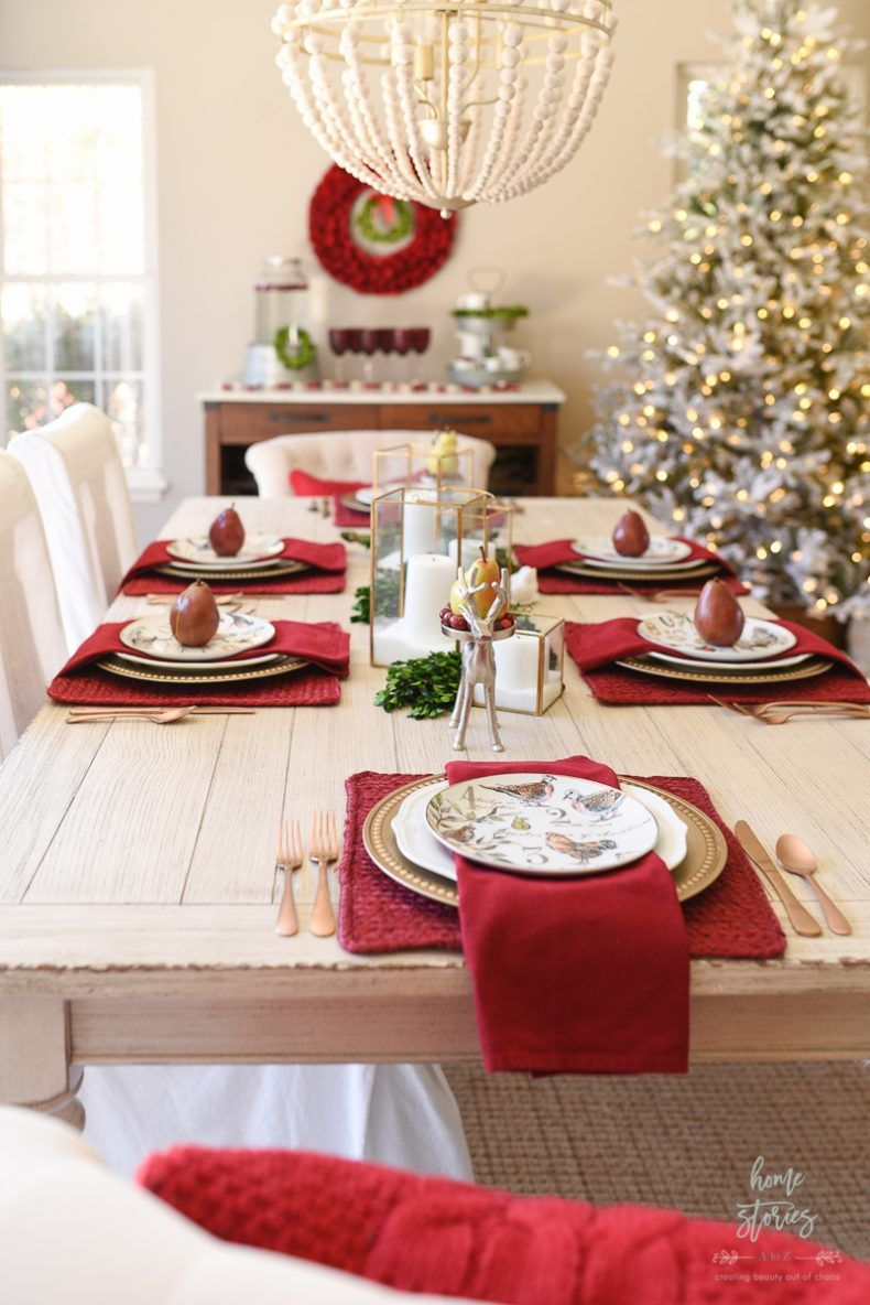 Red Plaid Christmas Home Tour Christmas Table Decorations Christmas Table Settings Christmas Table
