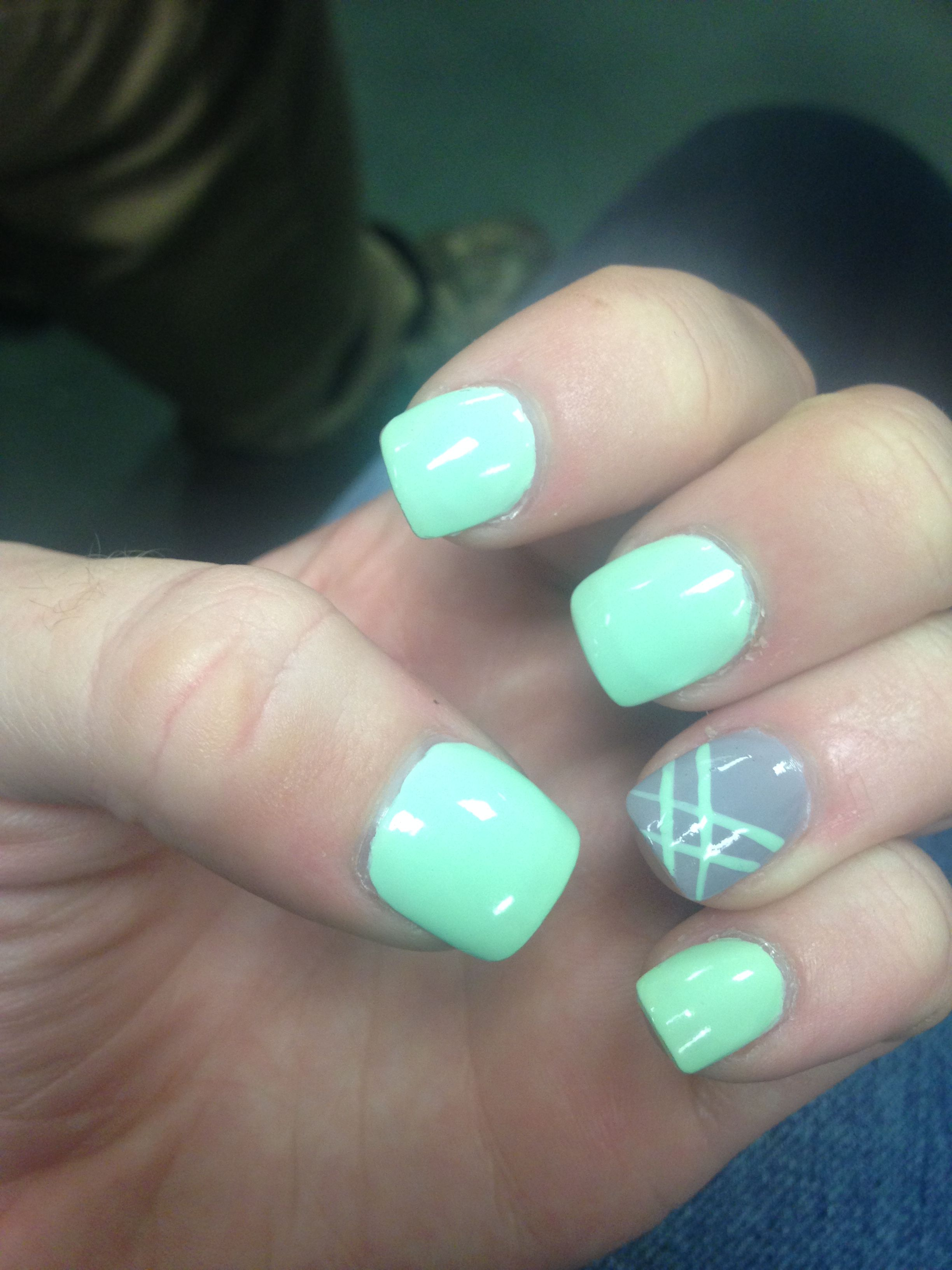 My Nails Mint Green And Grey Mint Green Nails Green Nails Mint Nails