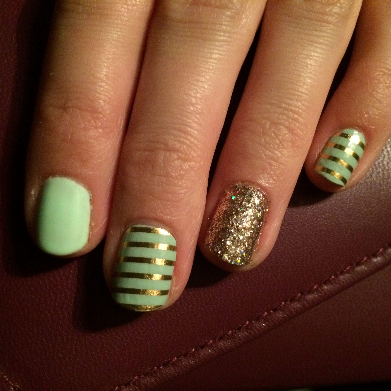 Jamberry Scavenger Hunt Gel Mint Green & Gold stripe Party Dress Gel ...