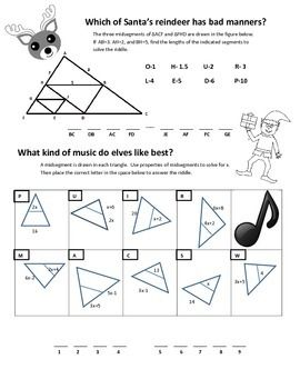 Midsegments Of Triangles Reindeer Manners Education Algebra And