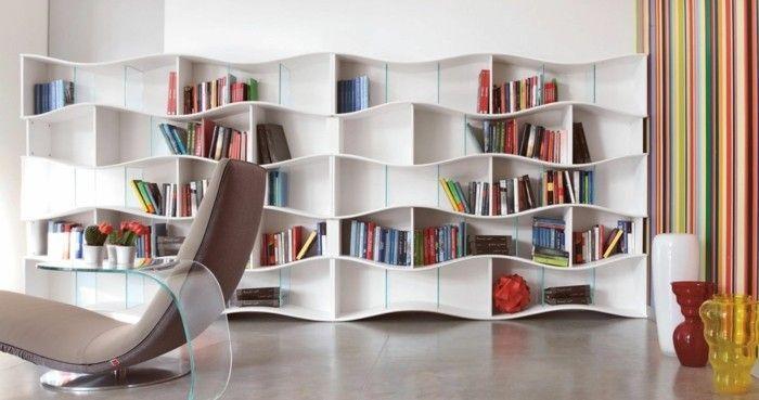 Wandregal Ideen In Weisser Farbe Mit Wellenform Bücherregal Ideen,