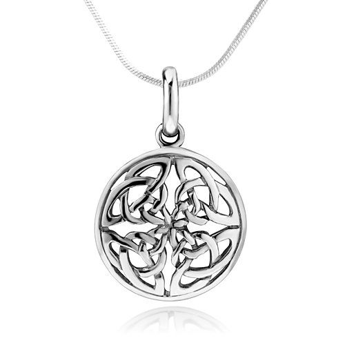925 sterling silver celtic knot round pendant necklace w snake 925 sterling silver celtic knot round pendant necklace w snake silver chain 18 aloadofball Images