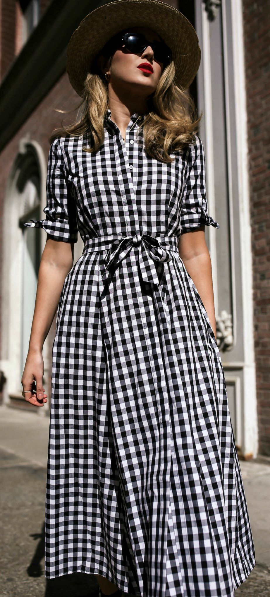 d8e17248ba46b Click for outfit details!    Short sleeve black and white gingham ...