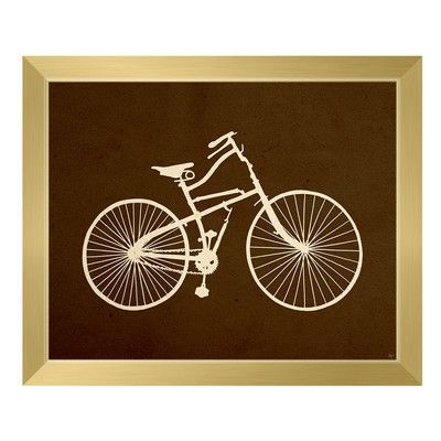 Click Wall Art 'Bicycle Silhouette Umber' Framed Graphic Art