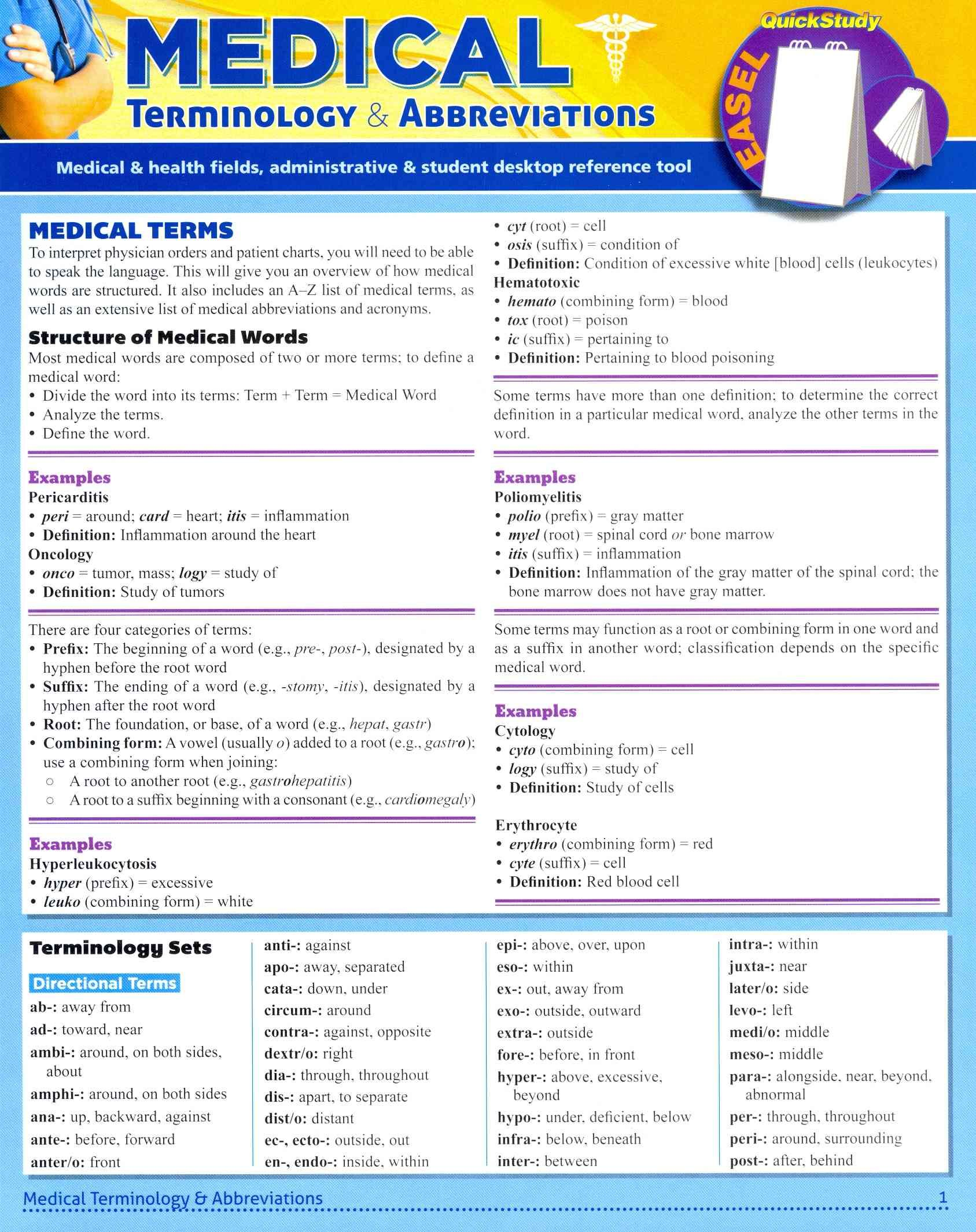 Word Roots Amspar Medical Terminology Study Aid