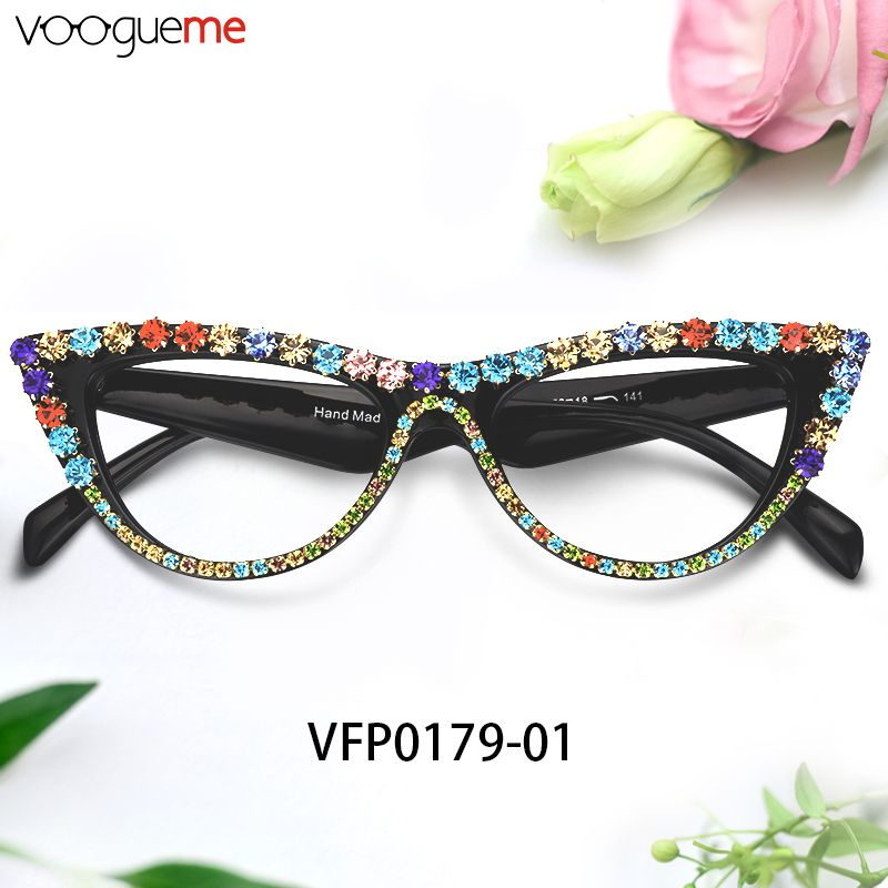 56cb0364a11 Cathleen Colorful Cat Eye Glasses Brighten up your look with these colorful  cat-eye glasses.The classic cat eye glasses come in glossy black frame and  have ...