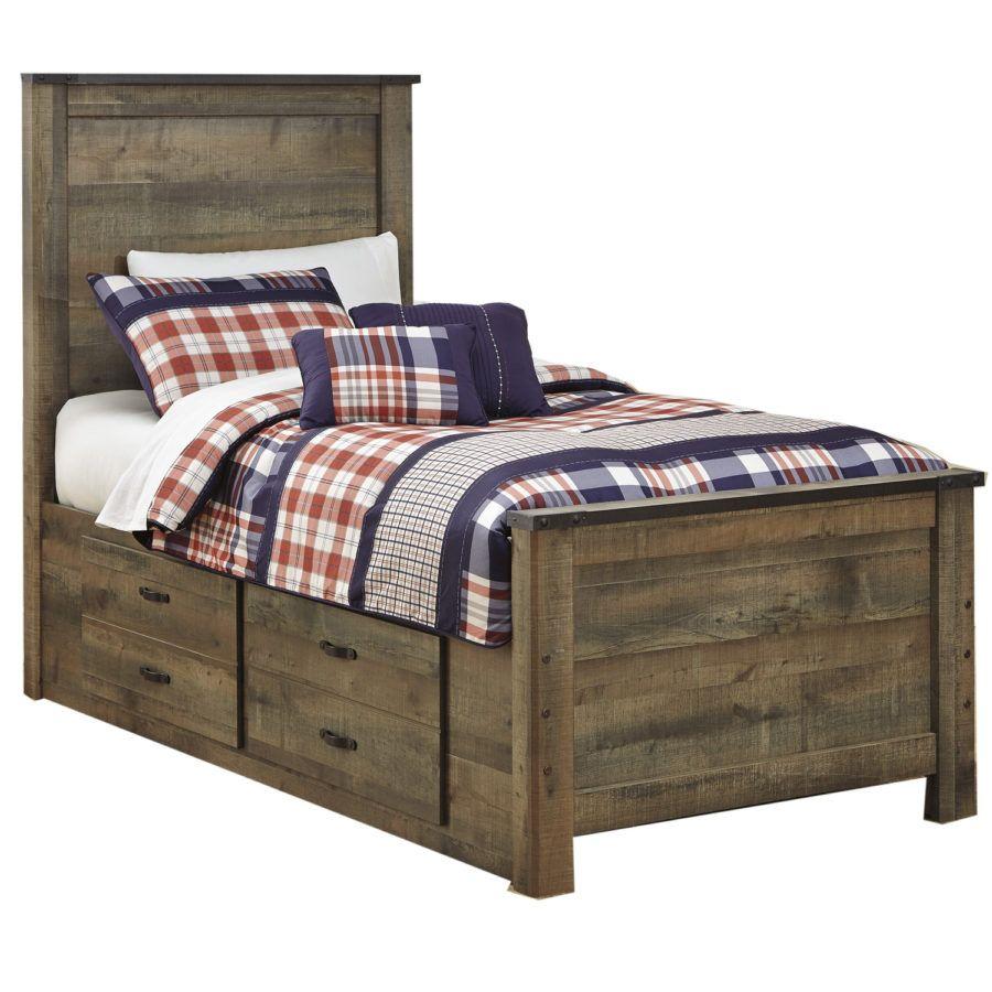 b81b0b273af8 Ashley Juararo Dark Brown Full Panel Bed with Trundle Under Bed Storage