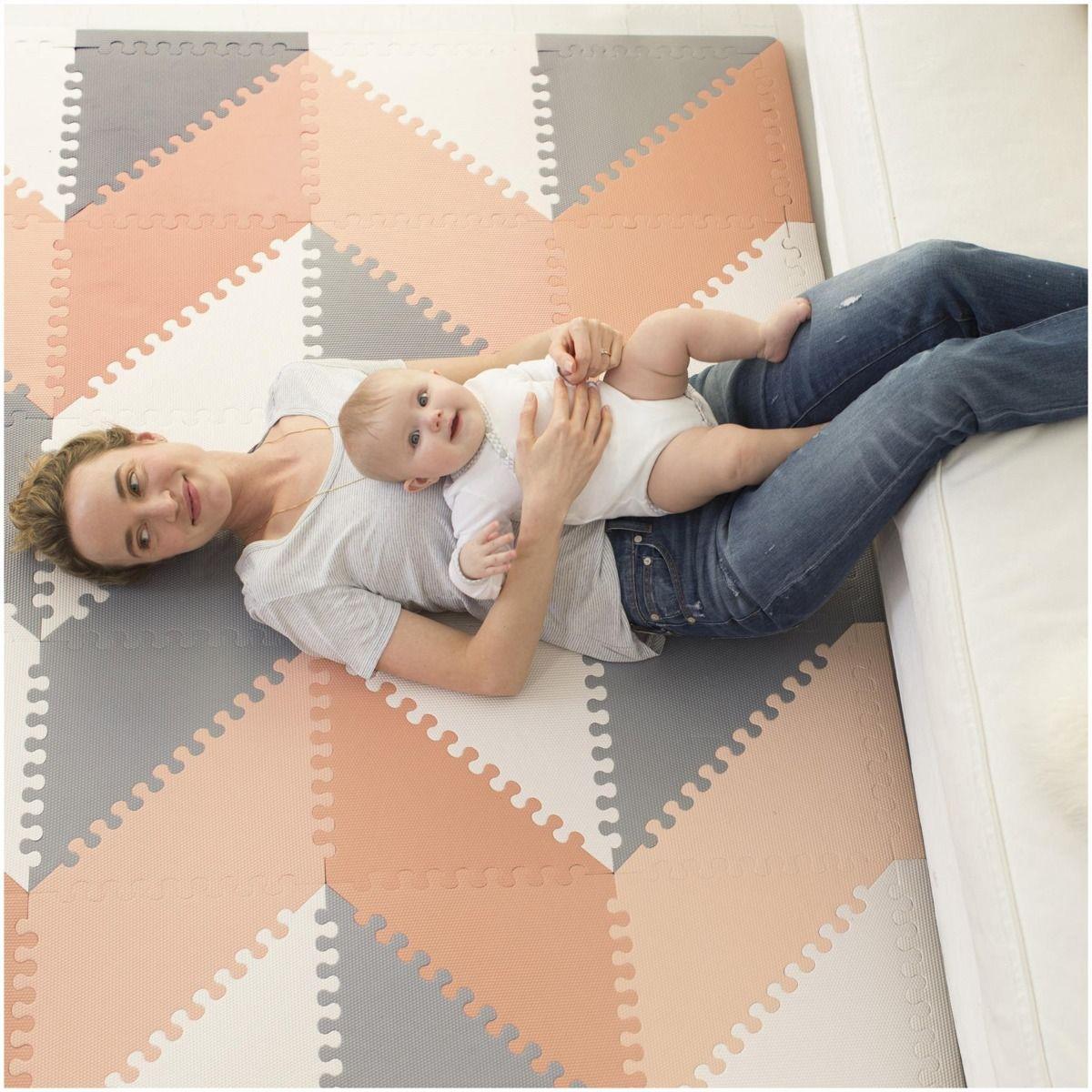 Peach//Grey Skip Hop Play Spot Geo Floor Tiles