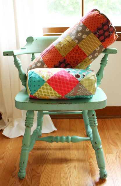 patchwork bolster pillow tutorial - anthro inspired - Noodlehead