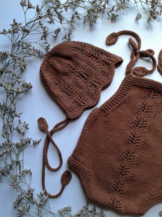 PATRÓN DE TEJIDO - Mameluco y gorro de flores de primavera en PDF Patrón de tejido de punto / Patrón de encaje / Patrón de tejido de punto vintage / 0-24 meses