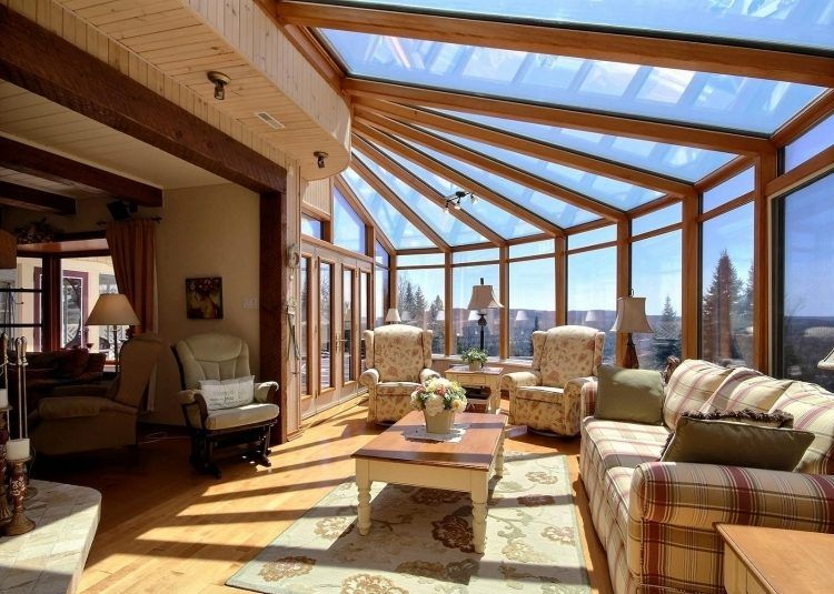 Véranda bois en 35 idées du0027aménagement et décoration Passive solar