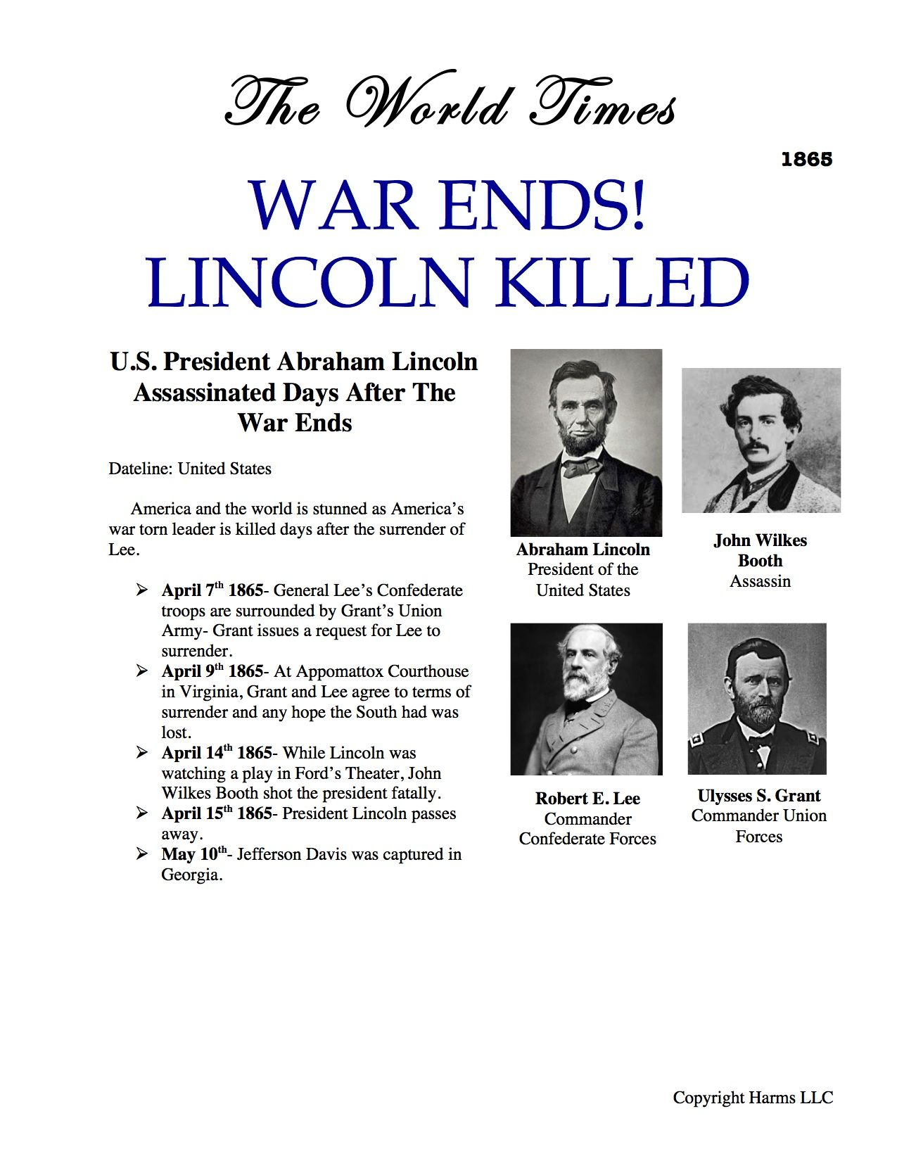 World Times Article On President Lincoln S Assassination