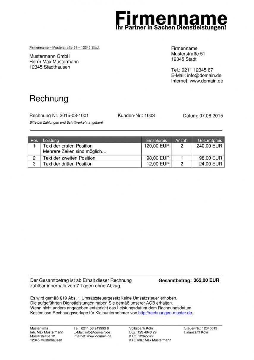 Rechnungsvorlage Musterrechnung Kostenlos Lexoffice