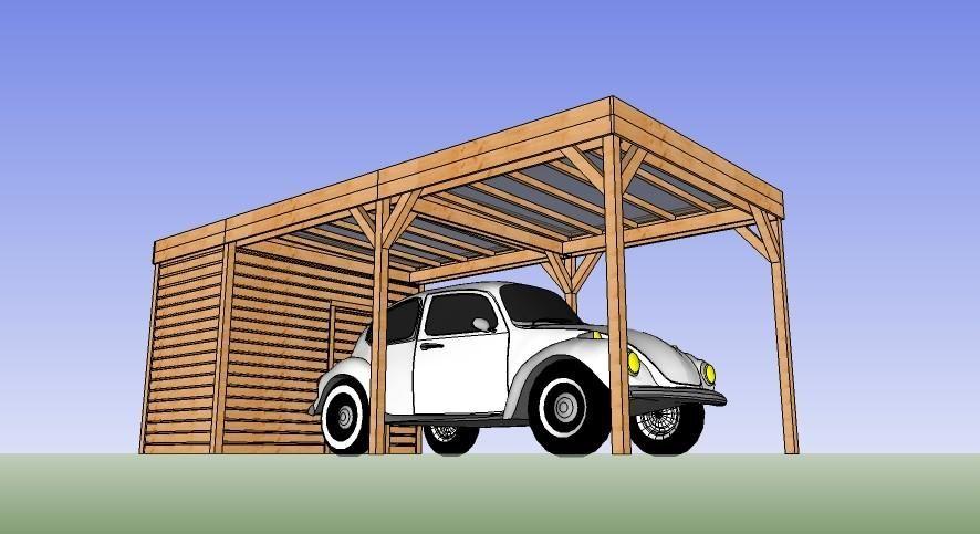 Abri bois voiture 5 x 3 avec abris Pinterest - Montage D Un Garage En Bois