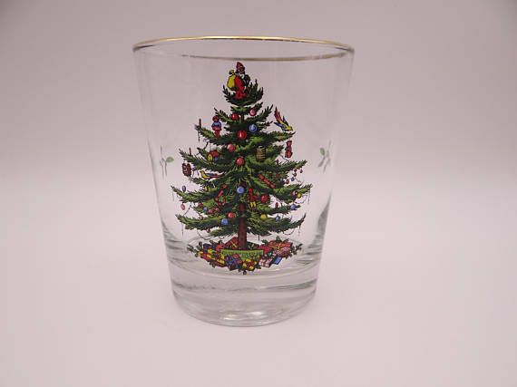 Spode Christmas Tree Flared Double Old Fashion Glass Whiskey