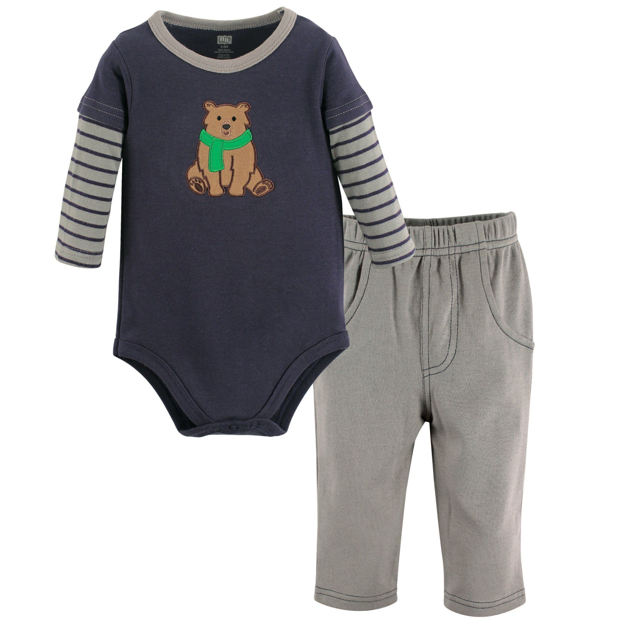 Hudson Baby Baby Infant Long Sleeve Bodysuit and Pant Set Bear 0 3