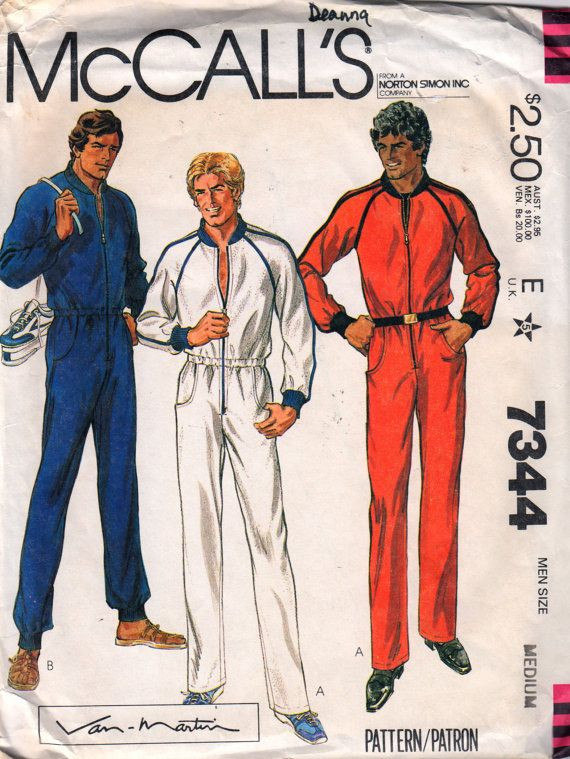 McCalls 7344 1980s Mens Zip Front JUMPSUIT Pattern Running Suit ...
