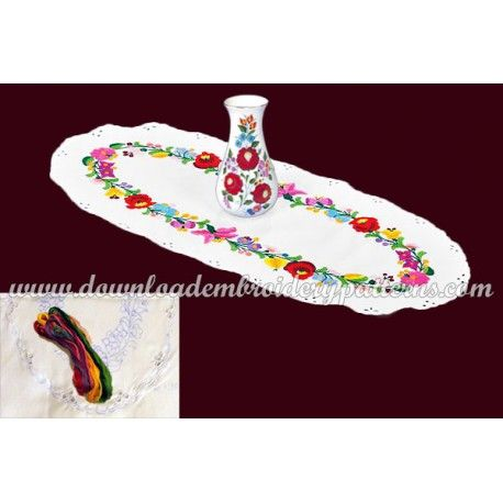 Pre-stamped table runner set - hungarian hand embroidery - Kalocsa pattern - oval - 30x70 cm