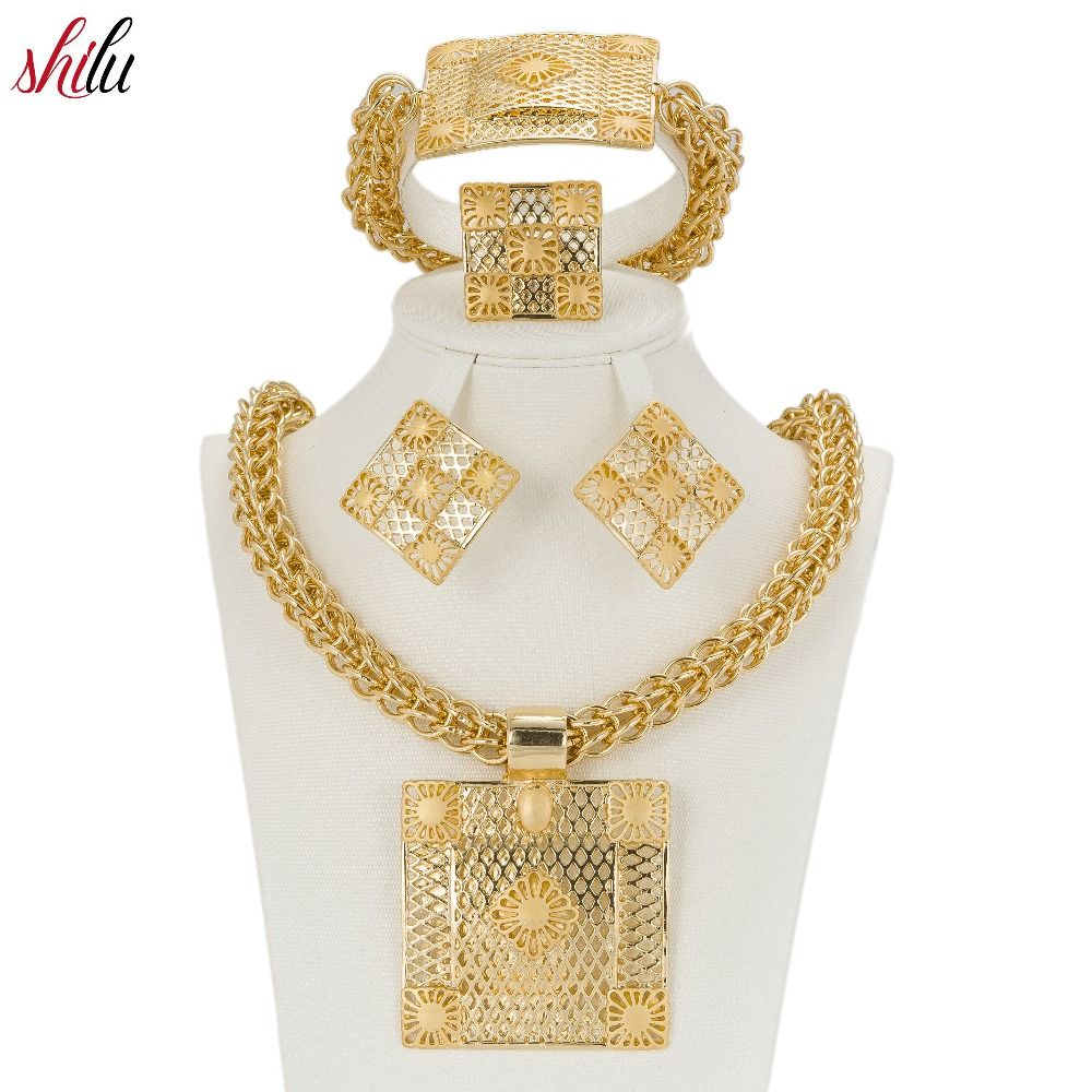 Click Image To Shilu Latest Best Quality Fashion Italian Jewelry Dubai Gold Color Sets African Women Necklace Jewellery Locate This