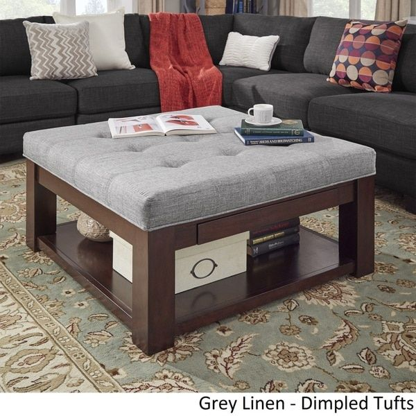 Lennon Espresso Square Storage Ottoman Coffee Table by iNSPIRE Q