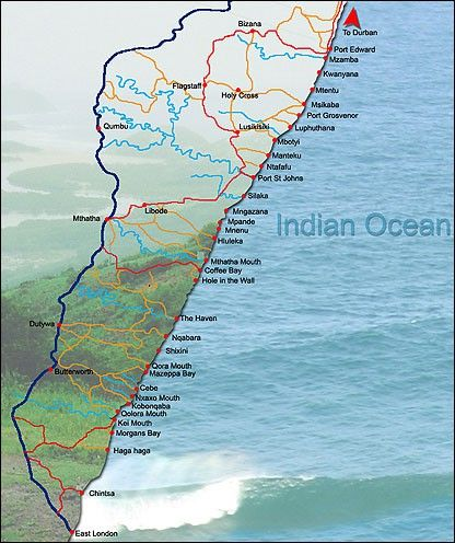 Map of the Wild Coast | Table Mountain and Beyond in 2019 | Coast