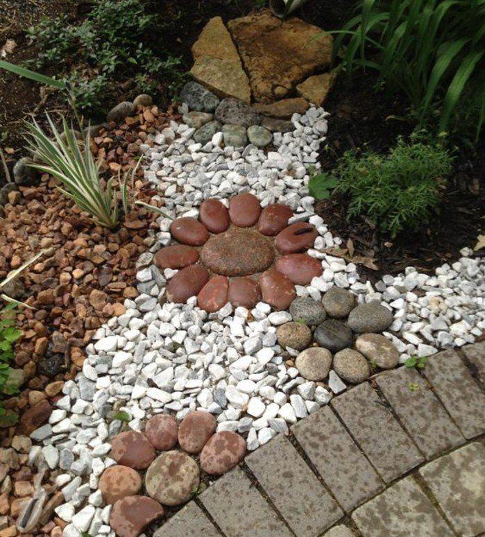 idée rocaille jardin DIY, des galets rangés en forme de fleurs et ...