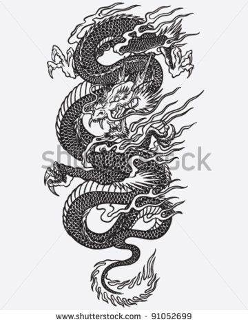 Traditional Black And White Japanese Flash Tattoo Designs Google Search Asian Dragon Tattoo Dragon Tattoo Sketch Dragon Tattoo