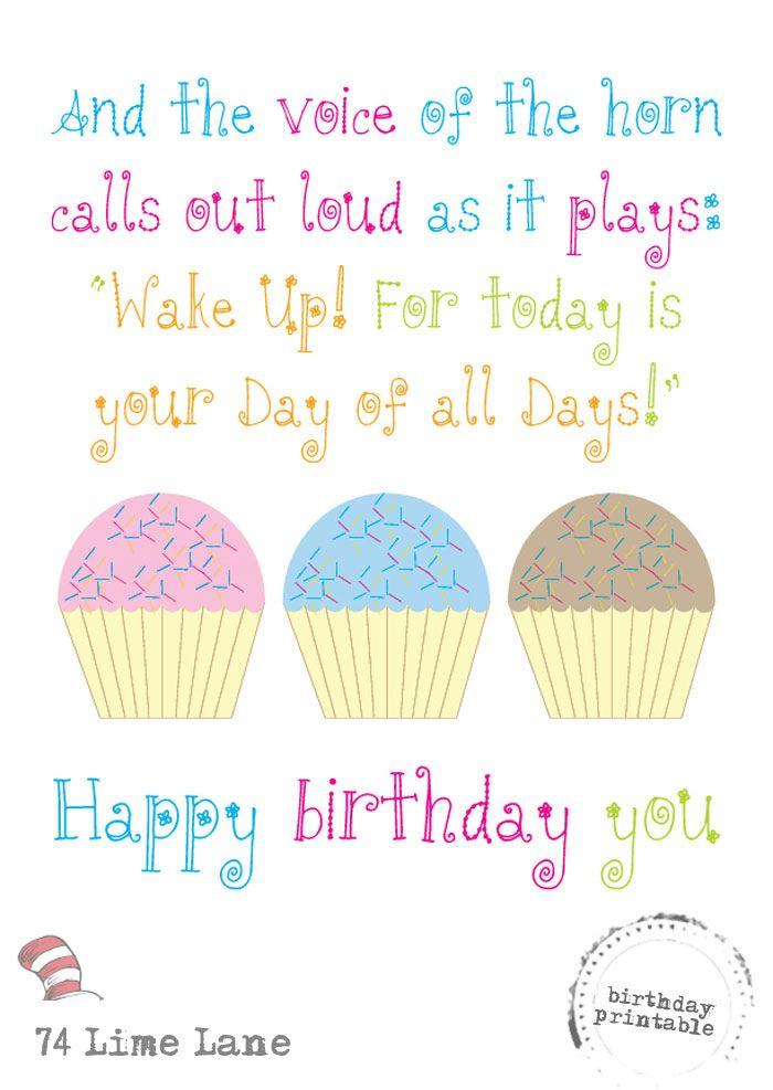 photo regarding Dr Seuss Happy Birthday to You Printable called Absolutely free Joyful Birthday Printable - Dr Seuss Consume.Slumber.T e a c