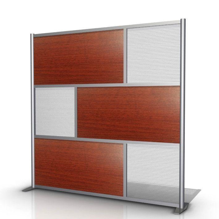 "75"" wide x 75"" high Room Divider, Cherry Wood Grain & Translucent - SW7575-2"
