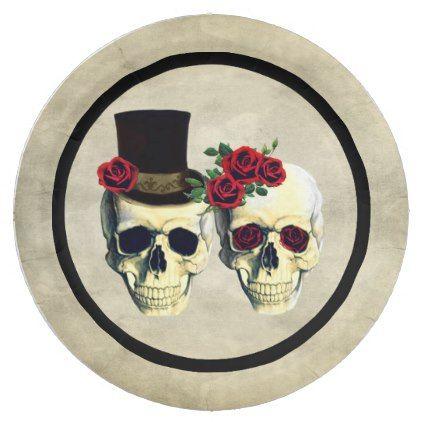 Bride & Groom Skull Skeleton Rustic Wedding Paper Plate | Wedding ...