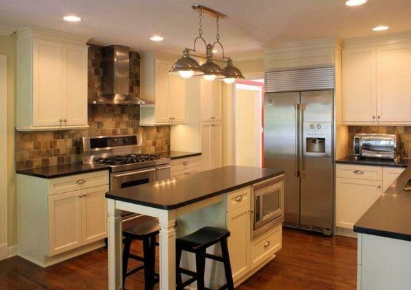 kücheninsel schmal   moderne edelstahl kuche - best home