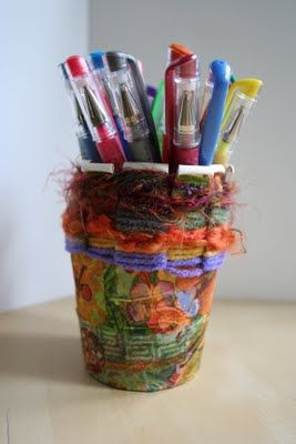 Paper Cup Weaving from Pink and Green Mama blog
