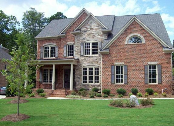 Brick And Stone Contrast Brick Exterior House Red Roof House
