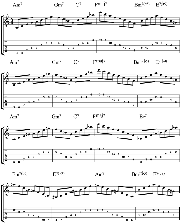 jazz guitar arpeggios 8 guitar lessons jazz guitar lessons guitar chords guitar sheet music. Black Bedroom Furniture Sets. Home Design Ideas