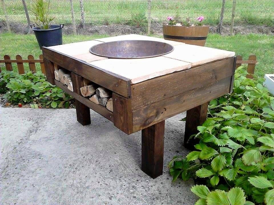 Diy Pallet Fire Pit Table With Firewood Storage Desserts Pallet