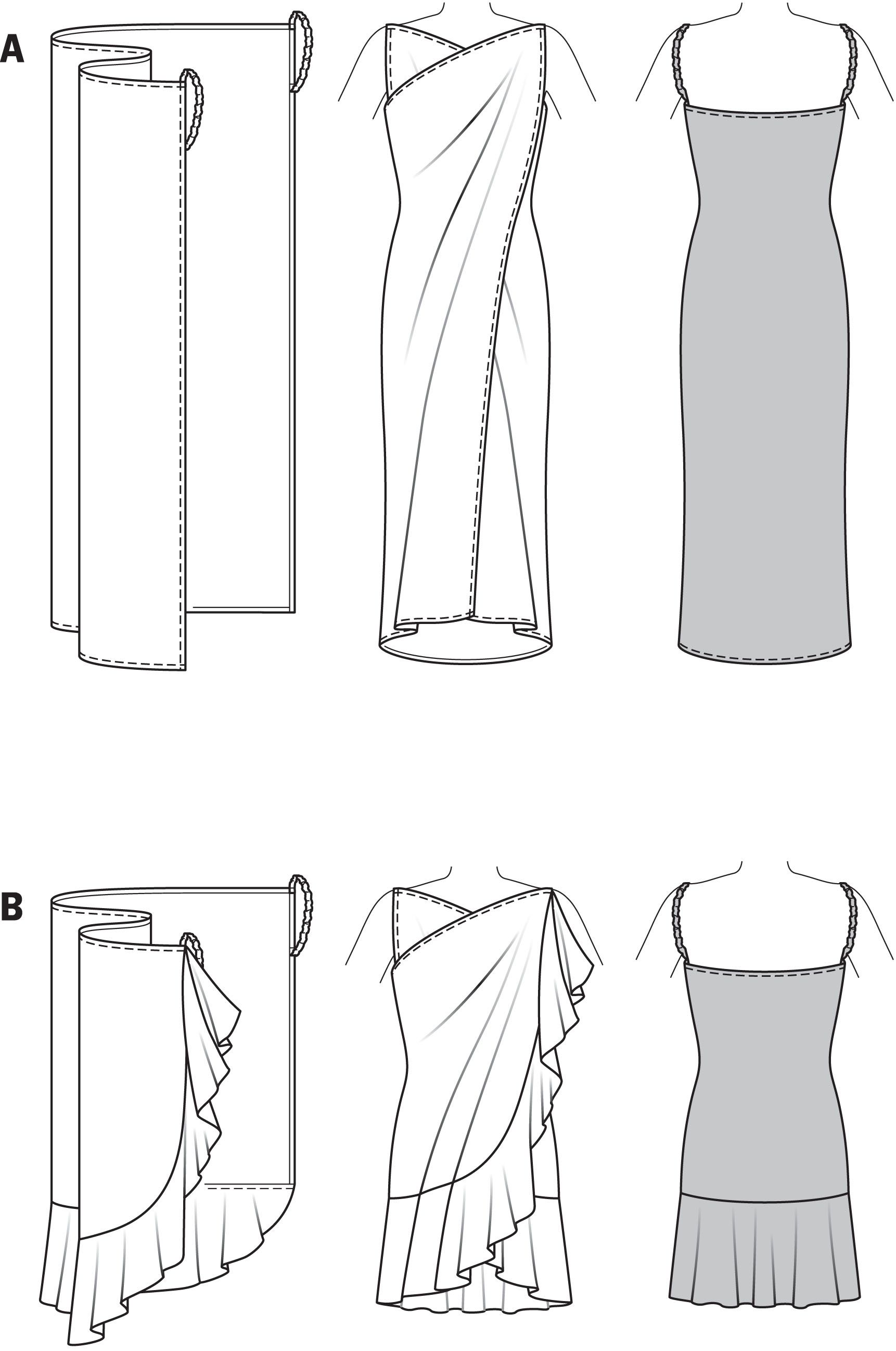 2 fáciles vestidos, para la playa o la piscina (punto jersey, encaje ...