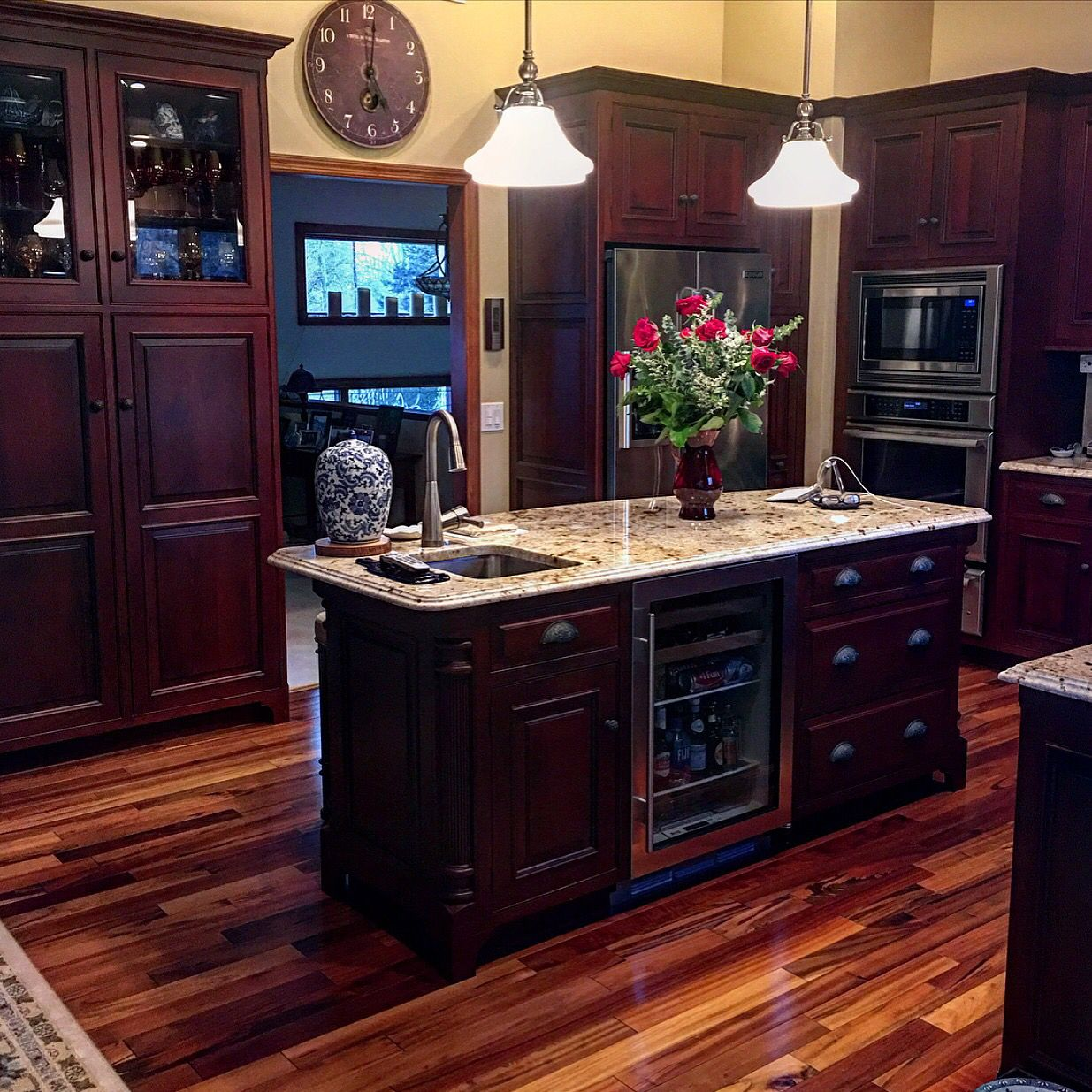 Dark Cabinets With Light Countertops Kitchen Island Tiger Wood Floors Beautiful Kitchen Kitchen Yellow Kitchen Walls Tigerwood Flooring Light Wood Kitchens