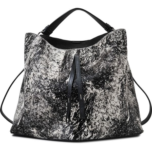 Maison Margiela Mottled Bag Bucket (£1,275) ❤ liked on Polyvore featuring bags, handbags, shoulder bags, bucket handbags, bucket purse, imitation purses, black handbags and black bucket purse