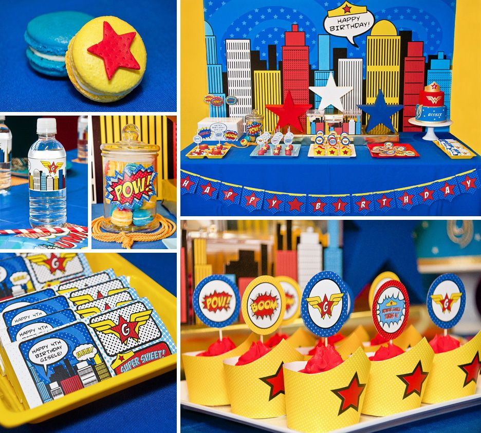 Comic inspired wonder woman dessert table mujer for Decoracion wonder woman