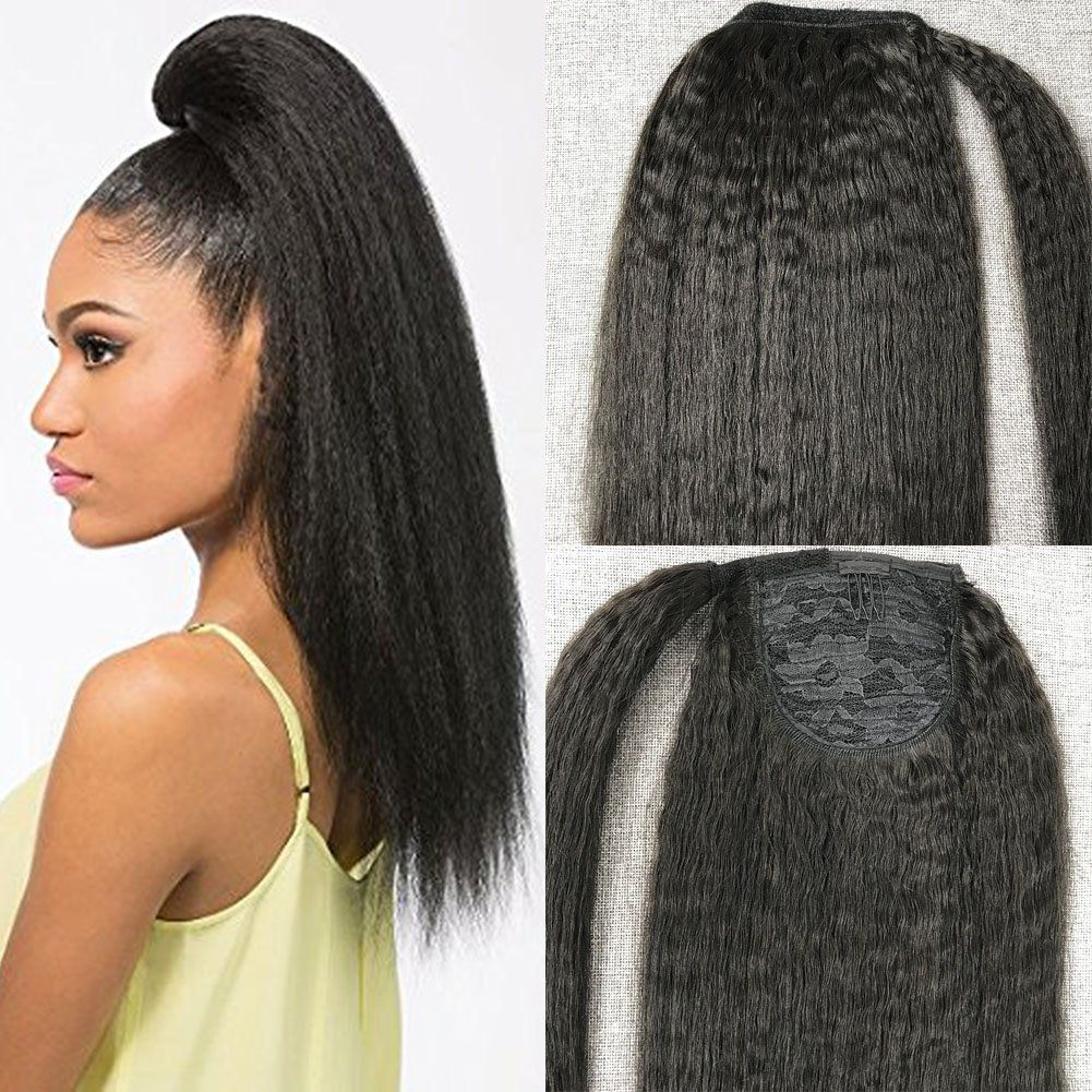 Moresoo Human Hair Ponytail Extension Black Off Black Kinky Straight