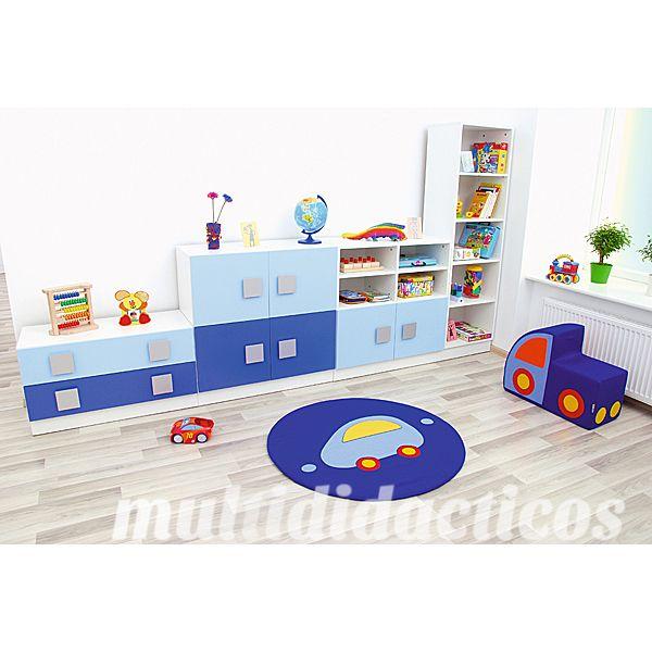 Ejemplo habitación en azul para niños. #mobiliario #infantil #escuela http://www.educamueble.com