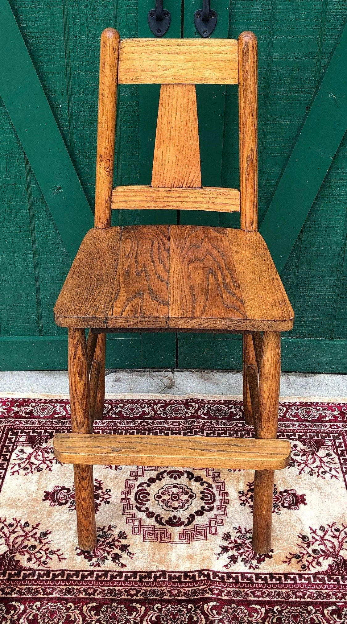 Antique oak chair booster seat toddler chairhigh chair