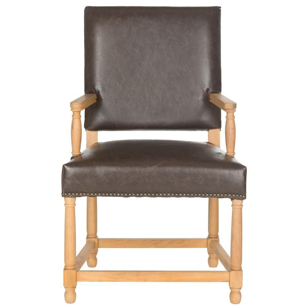 Best Safavieh Faxon Antique Brown Weathered Oak Bicast Leather Arm Chair Mcr4558B Chair Brown 400 x 300