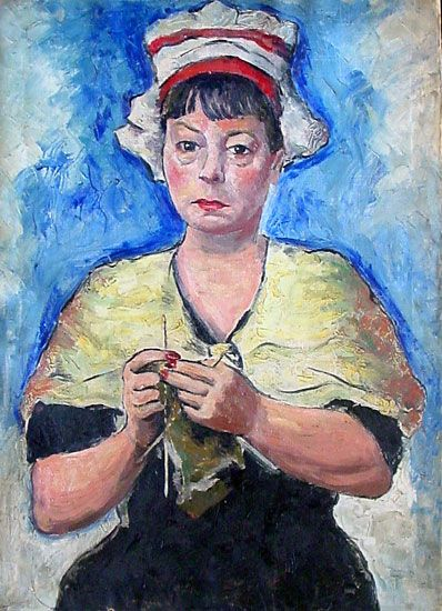 """Dorothy Parker: """"When Luis Quintanilla, deep in his project of painting various writers in the characters of those whom they secretly - well, perhaps not always quite that - considered themselves to be, asked me how I saw myself, I could only tell him the desperate truth: as a pastel old party, sitting in a corner, knitting."""""""