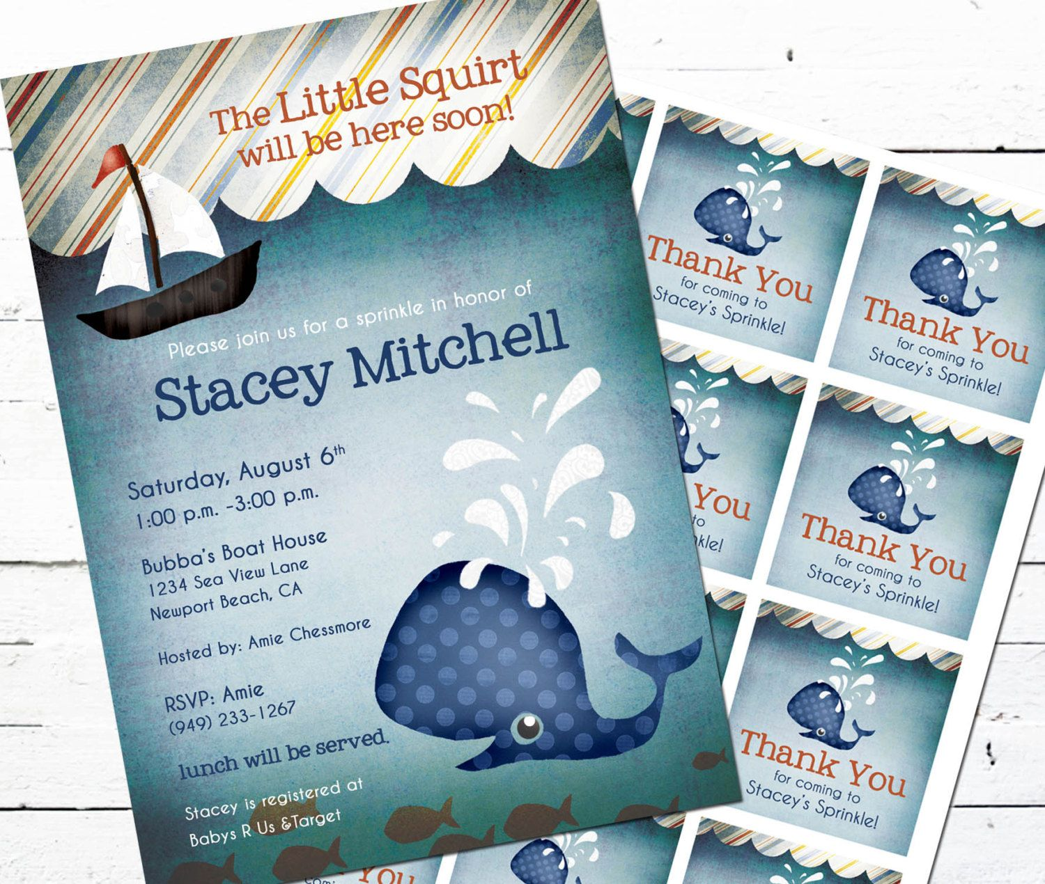 Whale Baby Shower Invitation and Gift Bag Tags-- Little Squirt ...