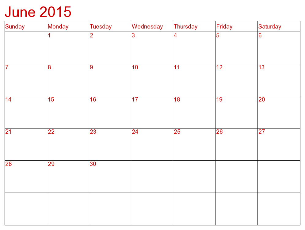 June Calendar 2015 Printable Template June 2015 Calendar Pinterest