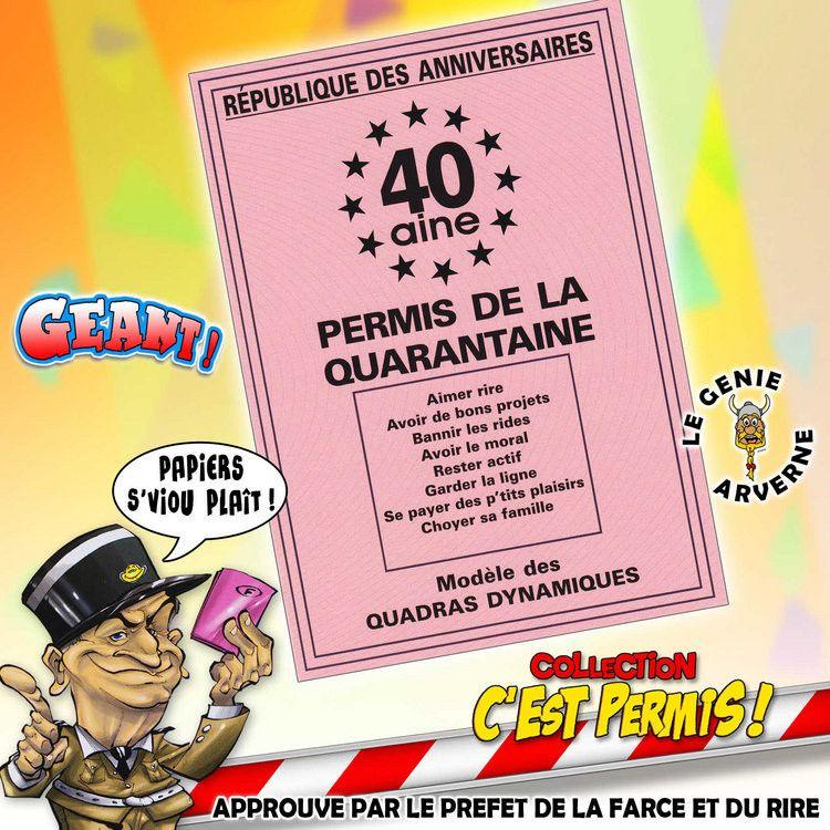 Carte D'invitation Anniversaire 40 Ans Humour Lovely Permis De La 40 A… | Carte anniversaire ...