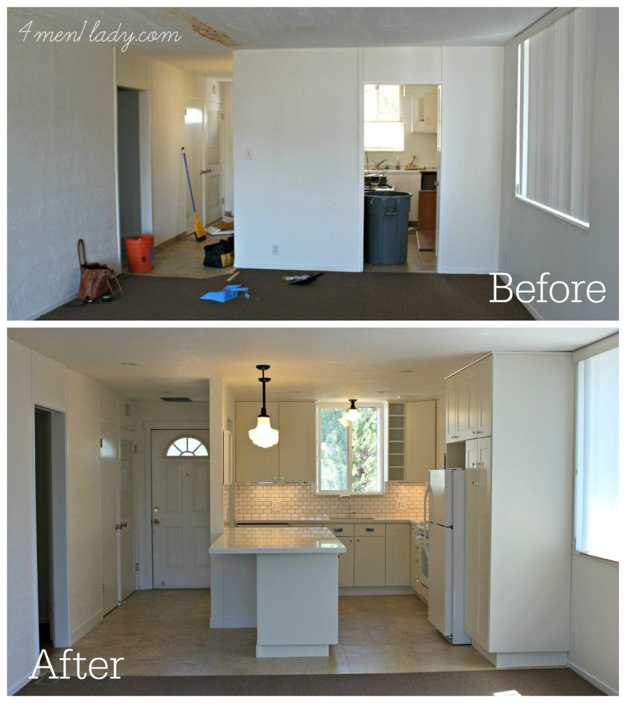 Before And After Of This Beautiful Open Concept Kitchen: Condo Rental Renovation. - 4men1lady.com