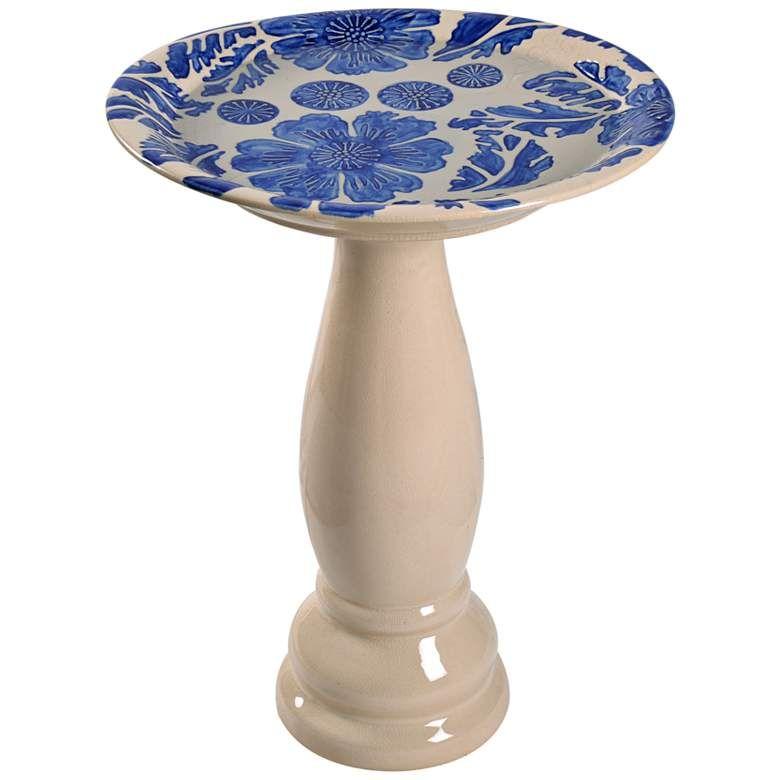 Brandy 22 High Blue Glaze Flower And Vine Ceramic Bird Bath 78f13 Lamps Plus In 2020 Ceramic Bird Bath Ceramic Birds Bird Bath