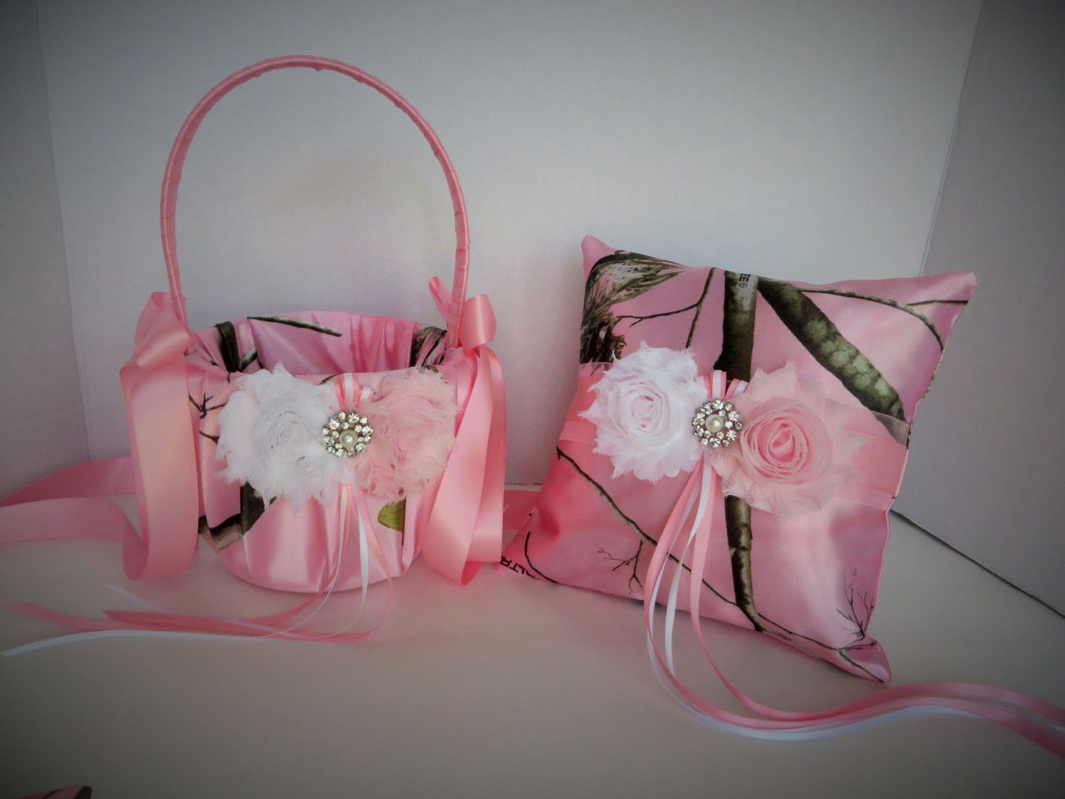 Realtree Soft Pink Camo Wedding Flower Girl Basket and/or Ring ...